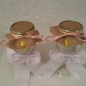 Burlap white pink wedding candle jar / center piece set. Any color to match your wedding