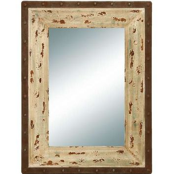 Glass Style Mirror with Rustic Wood Frame
