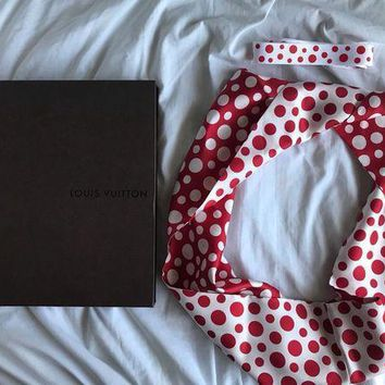 Louis Vuitton Yayoi Kusama Red Polka Dot Silk Infinity Scarf Red