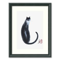 ''Chinese Cat Ii'' Framed Wall Art (Black)
