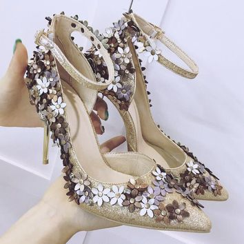 Bling Bling Fashion Sexy Pointed Toe Party Women Shoes High Heels Shallow Mouth OL Thin Heels Wedding Shoes Women Slip-on Pumps