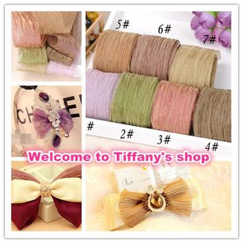 5Meter/lot 38mm Wrinkle Taffeta/Voile Korea Style Ribbon Wedding Party Favor Decoration Craft for Sewing / Accessory DIY