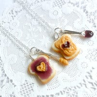 Peanut Butter Jelly Heart Necklace Set, Best Friend's BFF Necklace, Cute :D