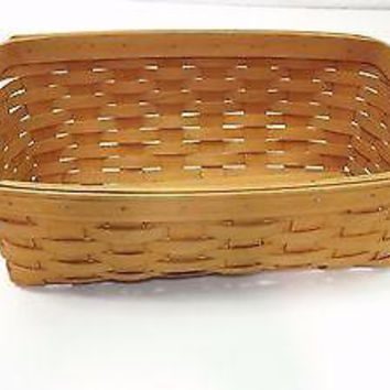 collectible Longaberger Slightly Slanted Handwoven Basket 14.5 X 7 3/4