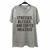 Tumblr Funny Relaxed Women Best Friends Lady O-Neck Print Grey Stressed Blessed And Coffee Obsessed Shirts Gifts Clothes