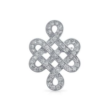 Eternal Celtic Love Knot Work Pave CZ Wedding Brooch Pin Silver Plated