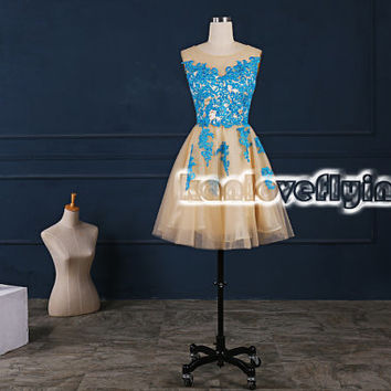 Blue lace champagne homecoming dresses,2015 short prom dresses,simple lace bridesmaid dress,short party dress gowns,cute lace sweet16 dress