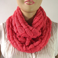CORAL Knit Infinity Scarf Chunky Knitted Scarf MORE COLORS Circle Scarf Loop Scarf Cable Knit Winter Woman Fashion Knit Scarves