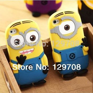 For iPhone X 4 4G 4S 5C 6 6S 7 8 Plus Soft Rubber Silicone 3D Cute Cartoon Despicable Me Minion Back Phone Cover Cases