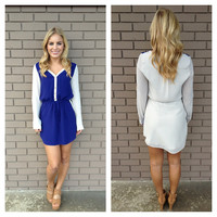 Navy Two-Tone 3/4 Sleeve Drawstring Dress