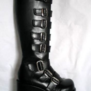 "Huge Demonia 4.25"" Platform Buckle Knee Boots Goth Gothic Club Rocker sizes 6-12"