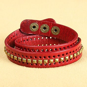 Fashion Punk  Adjustable Leather Wristband Cuff Bracelet  - Great for Men, Women, Teens, Boys, Girls 2761s