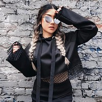 Women Solid Color Gauze Stitching Pagoda Sleeve Long Sleeve Hooded Sweater Crop Tops