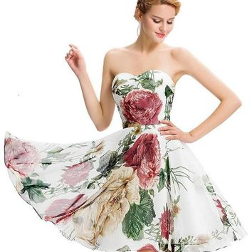 Mary Vintage Inspired Floral Chiffon Dress