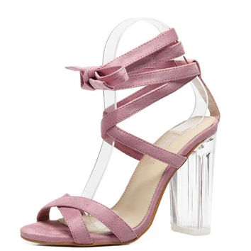 Women Sandals Pink Ankle Strap Perspex High Heels Clear Crystal Concise Strappy Lace Up Pumps High Quality Rome Shoes Woman