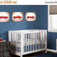 Weekend Sale Discount set of 3 red classic cars,wall decor,boys room decor,nursery decor,wall art,bedroom decor,classic cars,car nursery,boy
