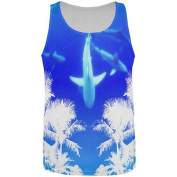 LMFCY8 Summer Shark Beach Party All Over Mens Tank Top