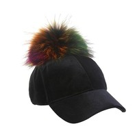 Black Velvet Fur Rainbow Pom Hat