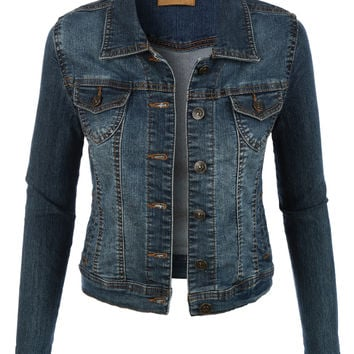 LE3NO Womens Classic Vintage Long Sleeve Denim Jean jacket