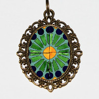 Mandala Necklace Oval Pendant