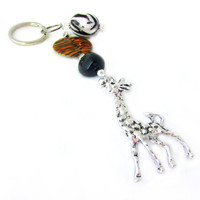 Giraffe Keychain, Giraffe and Tiger Bead Keyring, Giraffe Lover Gift, Car Accessory, Tribal Beaded Keychain with Giraffe