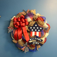 4th of July Wreath, Welcome Home Patriotic Wreath, Memorial Day Wreath, Front Door Decoration