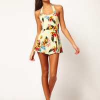 Motel Marilyn 50s Playsuit in Fiji Print