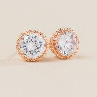 Juliana Cubic Zirconia Stud Earring In Rose Gold