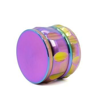 4 Layers Rainbow Color 63mm Diameter 46mm Height Zinc Alloy Herb Tobacco Weed Grinder Smoke Pipe Hookah Hand Muller Glass