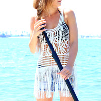 SUMMER CHIC FRINGE TANK IN WHITE
