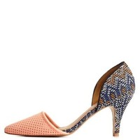 Peach Qupid Patterned D'Orsay Kitten Heel Pumps