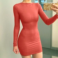 Candy Color Long Sleeves Casual Short Bodycon Club Dress