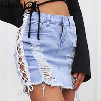 Washed denim side lace up women skirt Hollow out pencil skirt