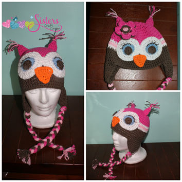 Owl Animal Crochet Hat Earflap Beanie - Choose your colors - Baby, Toddler, Kids, Child