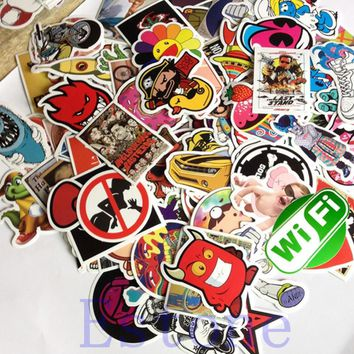 New 100 Pcs Unique Stickers Skateboard Vintage Sticker Laptop Luggage Car Decors