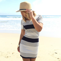 Newport Stripe Dress In Navy