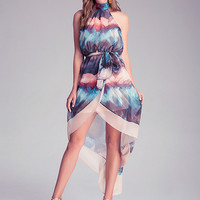 Watercolor Asymmetrical Wrapped Halter Dress