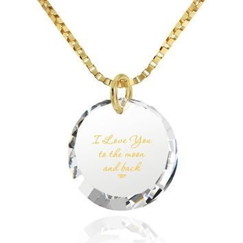 """""""I Love You to the Moon and Back"""", 14k Gold Necklace, Cubic Zirconia"""