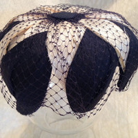 Black and White Vintage Veiled Womans Hat