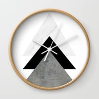Arrows Monochrome Collage Wall Clock by ARTbyJWP
