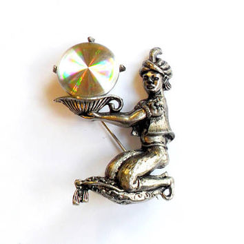 Vintage Genie Refraction Disk Brooch Jewelarama Signed Piece Aladdin Holographic Light Refracting Silver Tone Metal Pin Broach