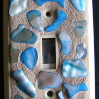 Blue Abalone Shell Mosaic  Switchplate, Beach Decor, Home Decor, Shell Decor, Mosaic,Switchplate,Light Fixture