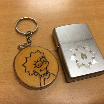 Keyrings Birch keychain Natural birch keychain Lisa Simpson The Simpsons