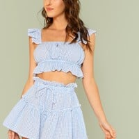 Ruffle Trim Plaid Crop Top & Shorts Set