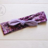 Purple Snake Print Top Knot Headband with LILLA Bow Headband Knot Toddler Headband Head Wrap Baby Bow Headband Newborn Knot Headband