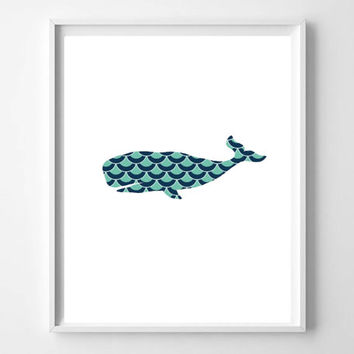Printable DIY Nursery Art Print, Geometric Whale Print, Whale Silhouette, Instant Download 8x10 JPG File Mint and Blue Modern Gift ideas