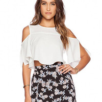 White Ruffled Crop Top