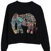 Black Ethnic Elephant Print Sweatshirt
