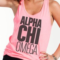 Alpha Chi Omega Neon Pink Tank