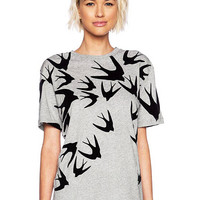 Grey T-shirt With Swallow Print